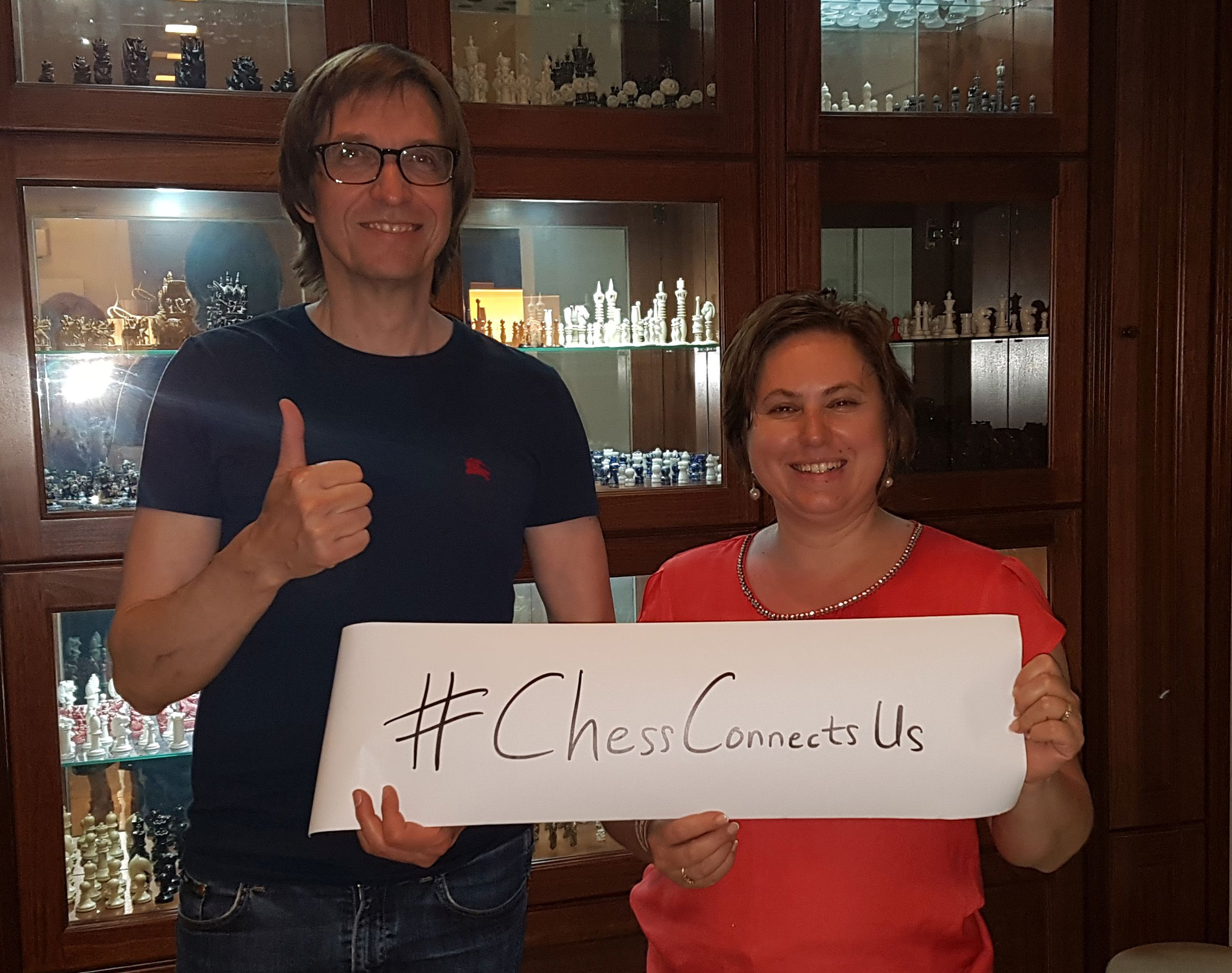 """Stefan Kindermann and Judit Polgar, the """"Queen of Chess"""" (Foto: private)"""